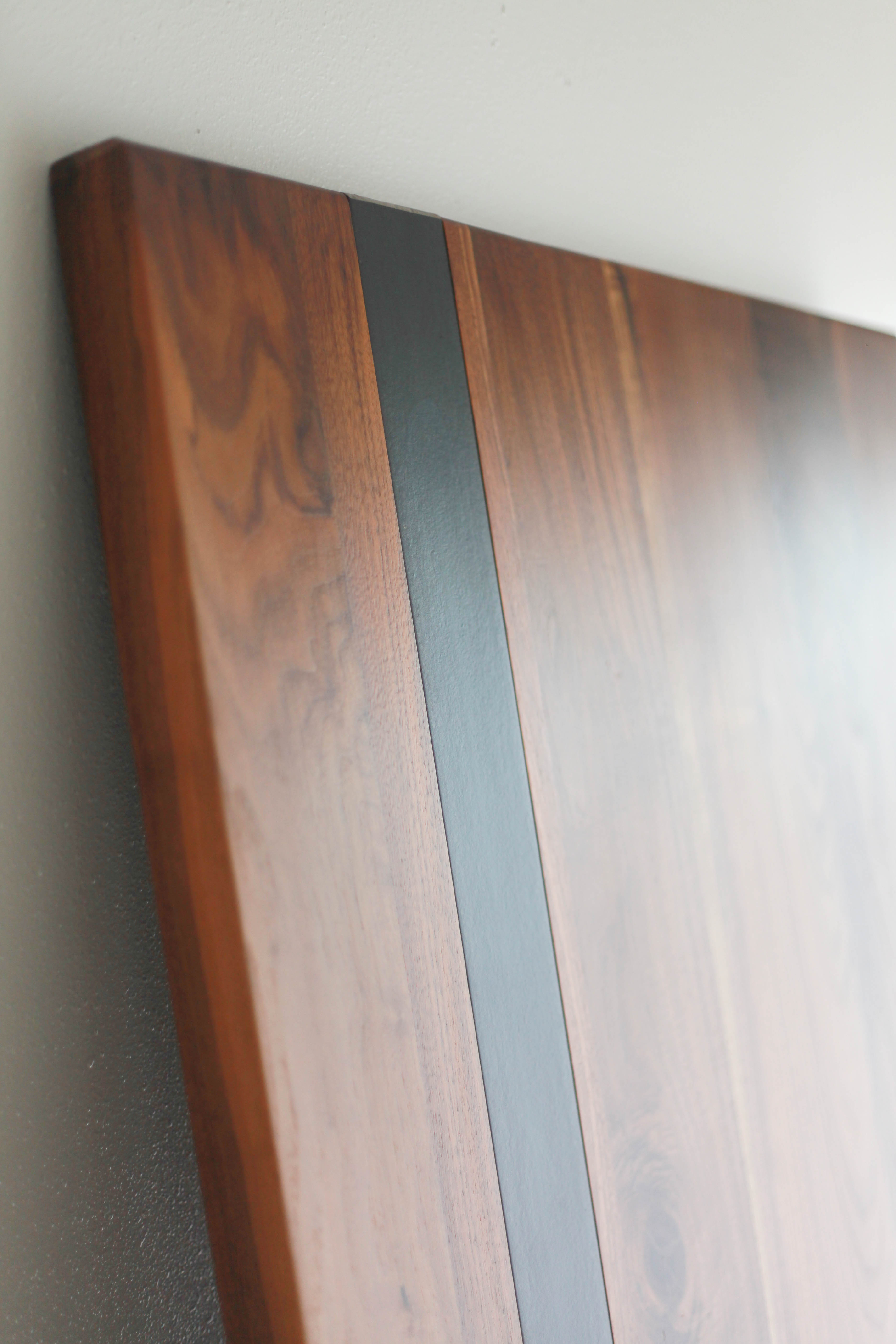 Walnut Steel Modern Stripe Detail Tabletop Handmade ...