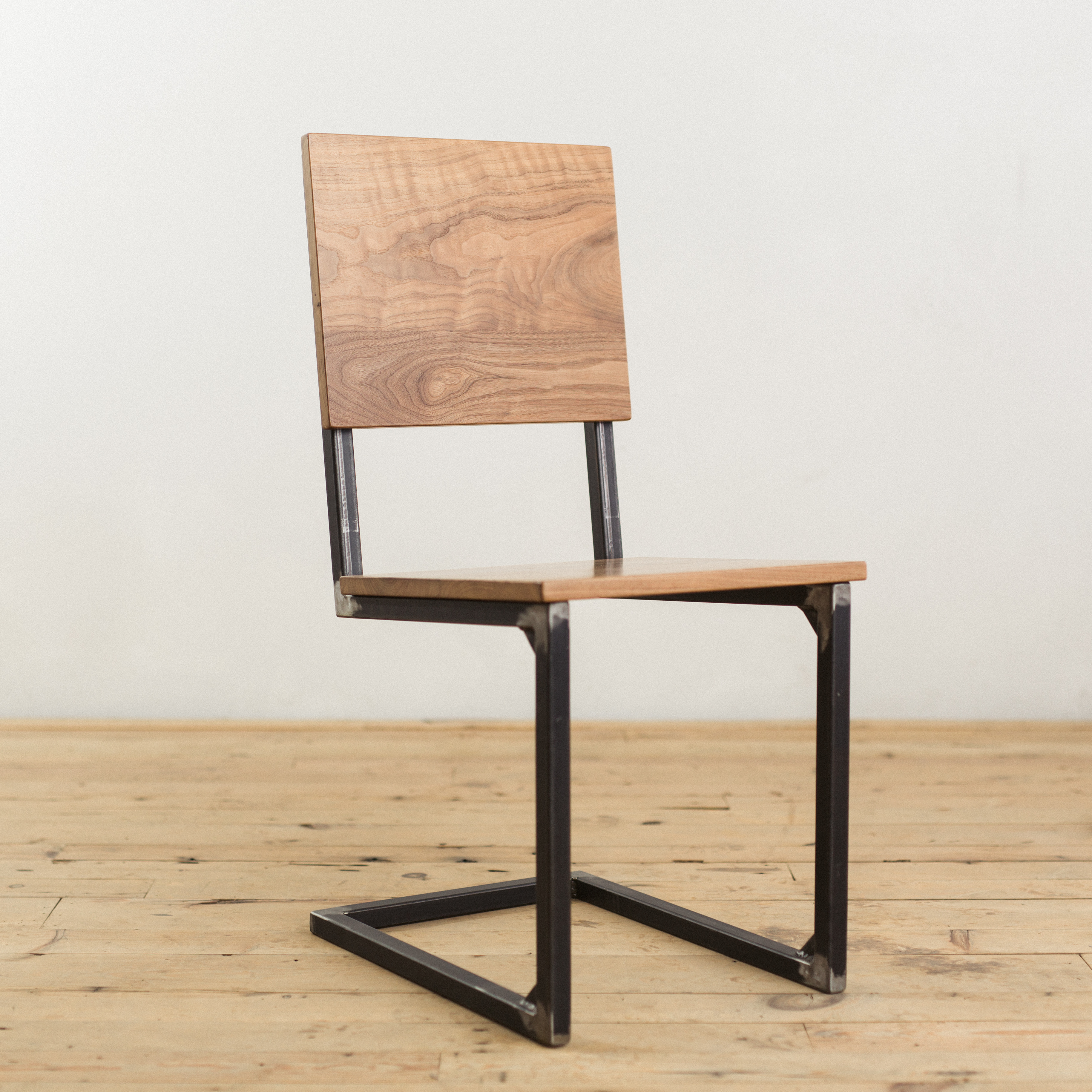 Walnut and Steel School House Chair Factor Fabrication