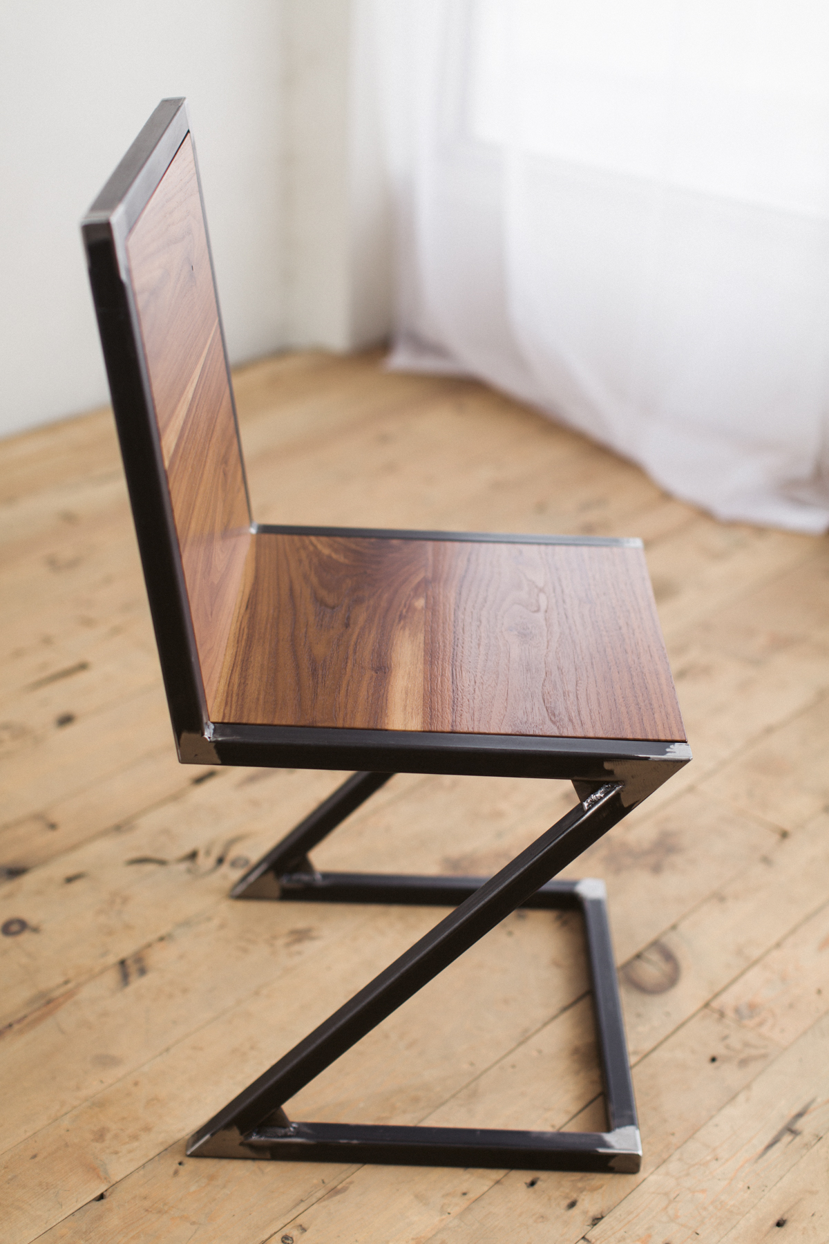 Walnut And Raw Steel Z Chair Factor Fabrication