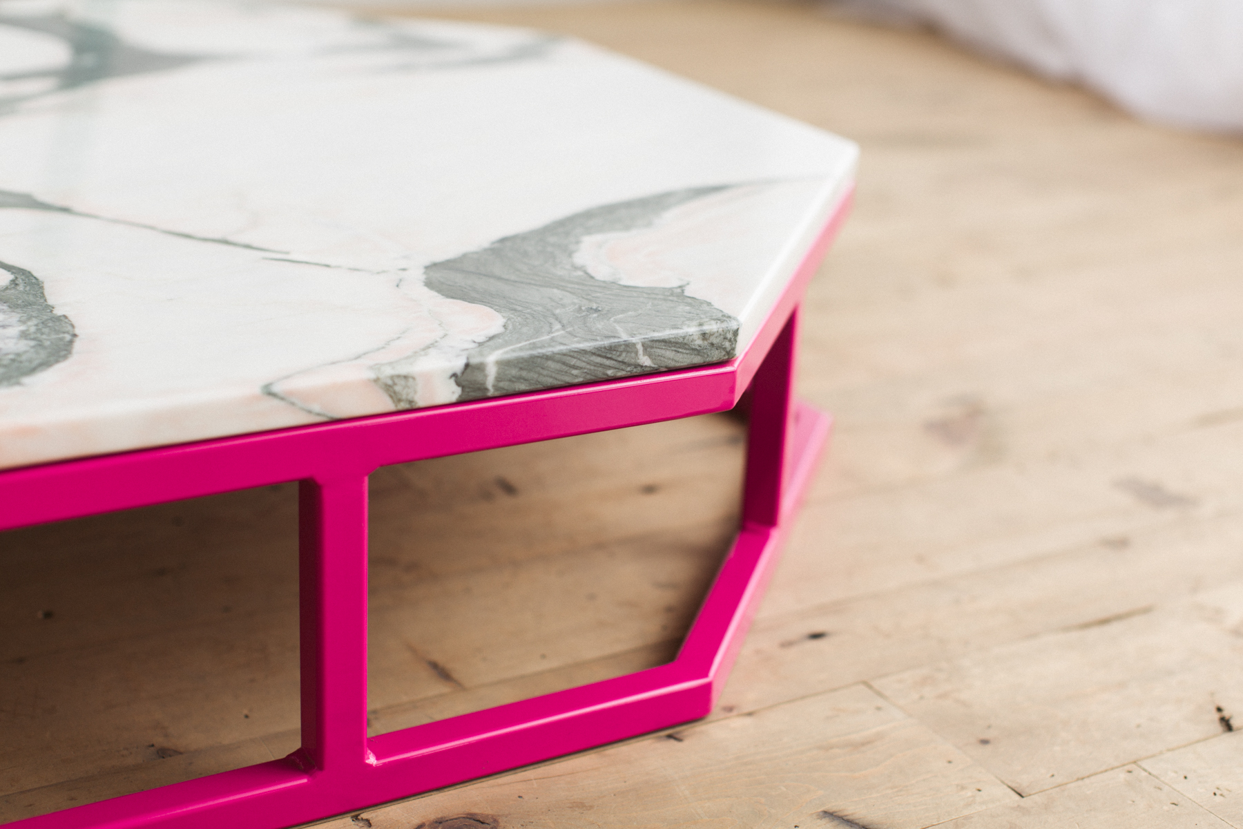 Amazing Granite And Steel Octagon Coffee Table Factor Fabrication With Pink  Coffee Table.