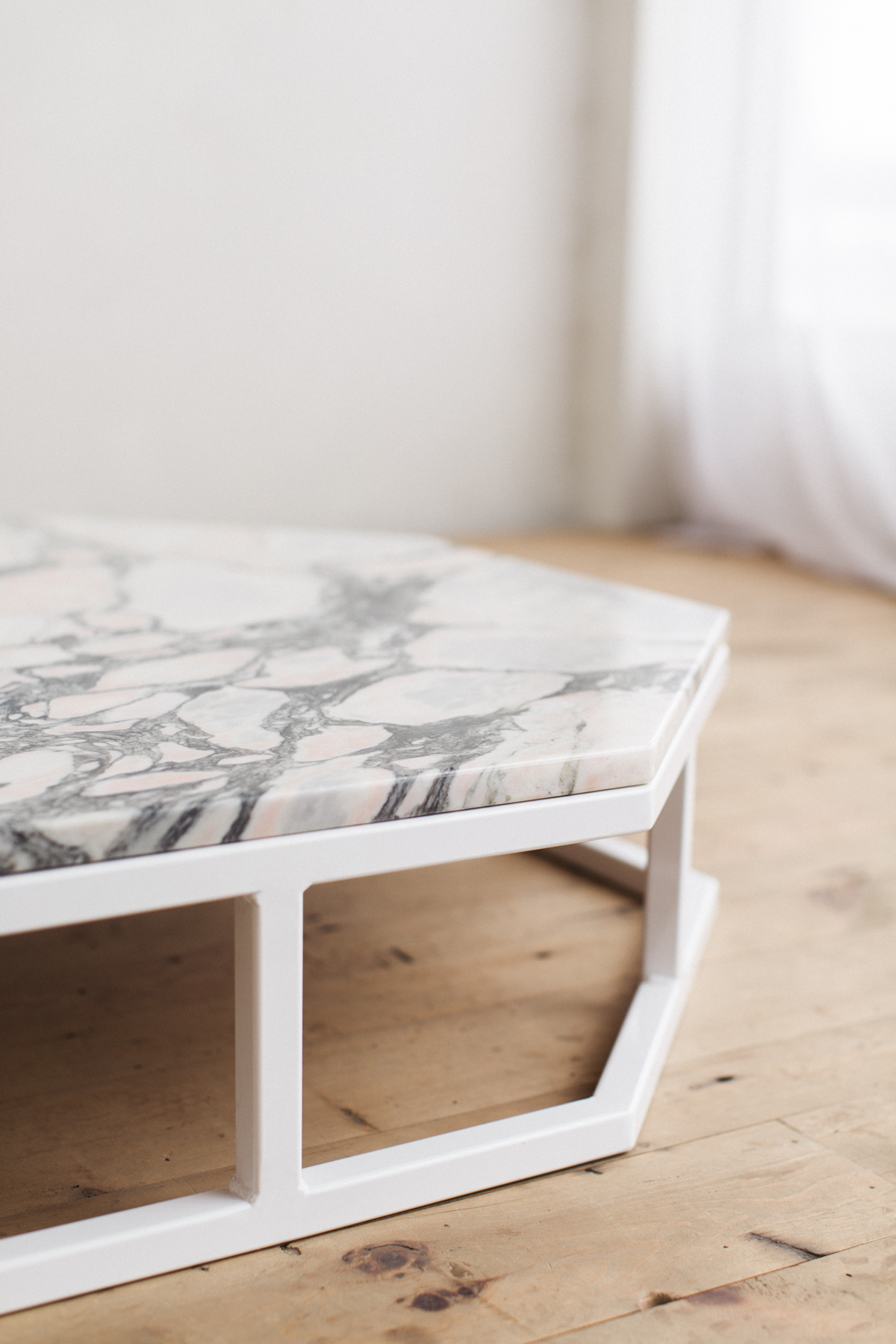 ... Granite Steel Octagon Modern Coffee Table White Base  ...