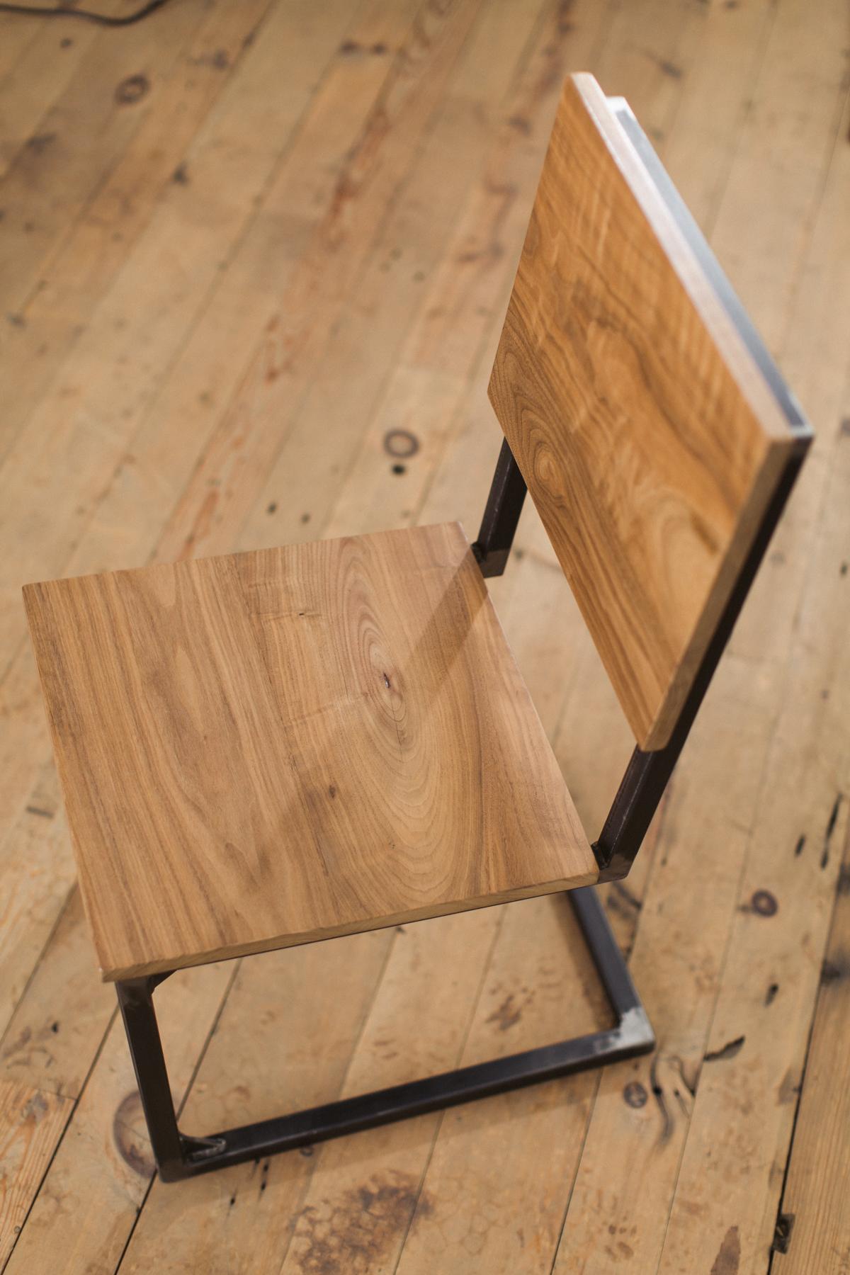 schoolhouse dining chair prairie modern walnut raw steel   Walnut and Steel School House Chair   Factor Fabrication. Schoolhouse Dining Chairs. Home Design Ideas