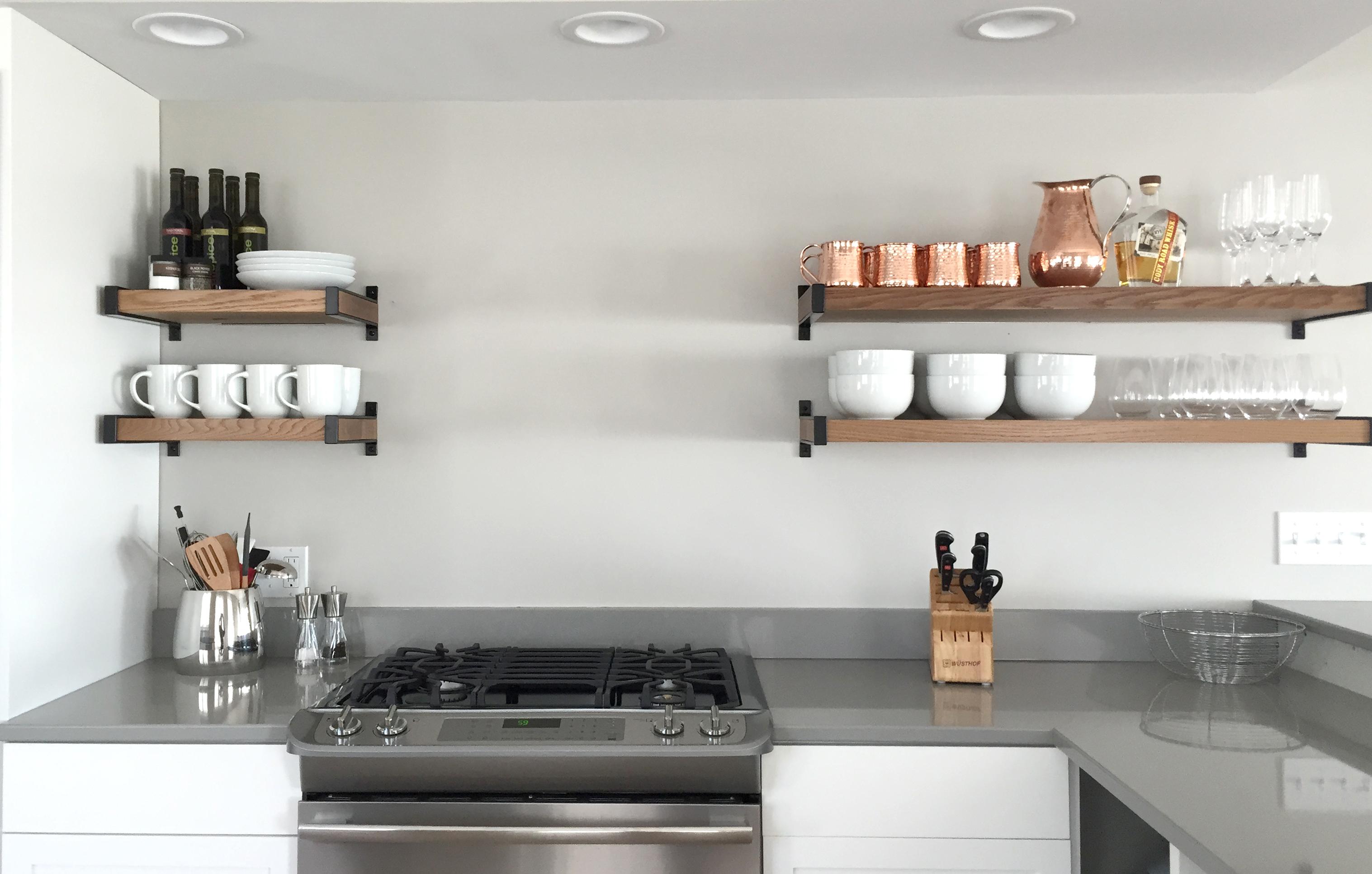 Modern kitchen shelves - Wood And Steel Open Shelving Modern Kitchen Storage