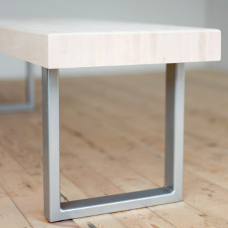 modern bench powder-coated steel maple