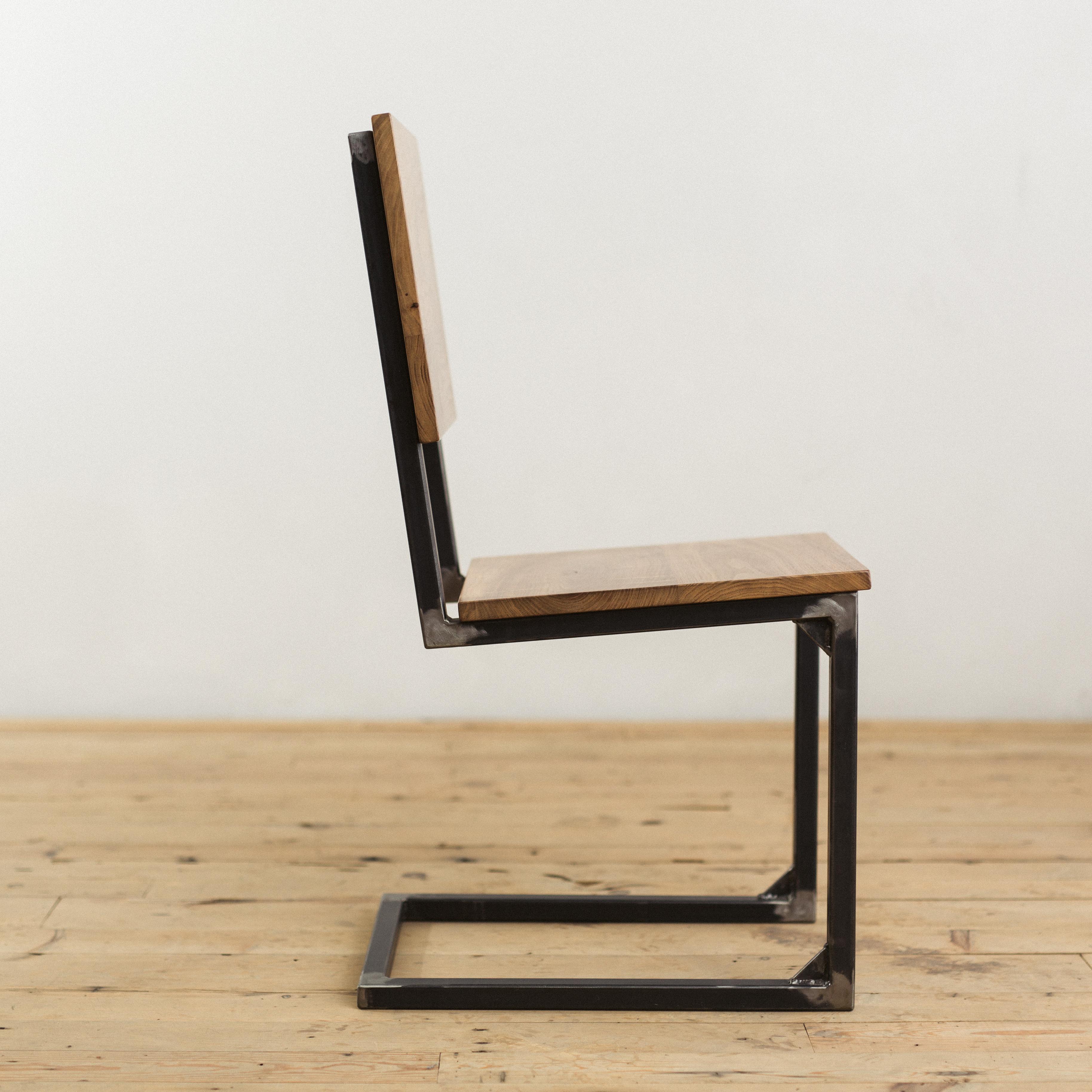 Modern Raw Steel Walnut School House Chair 2