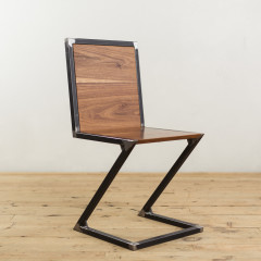Walnut and Raw Steel Z-Chair