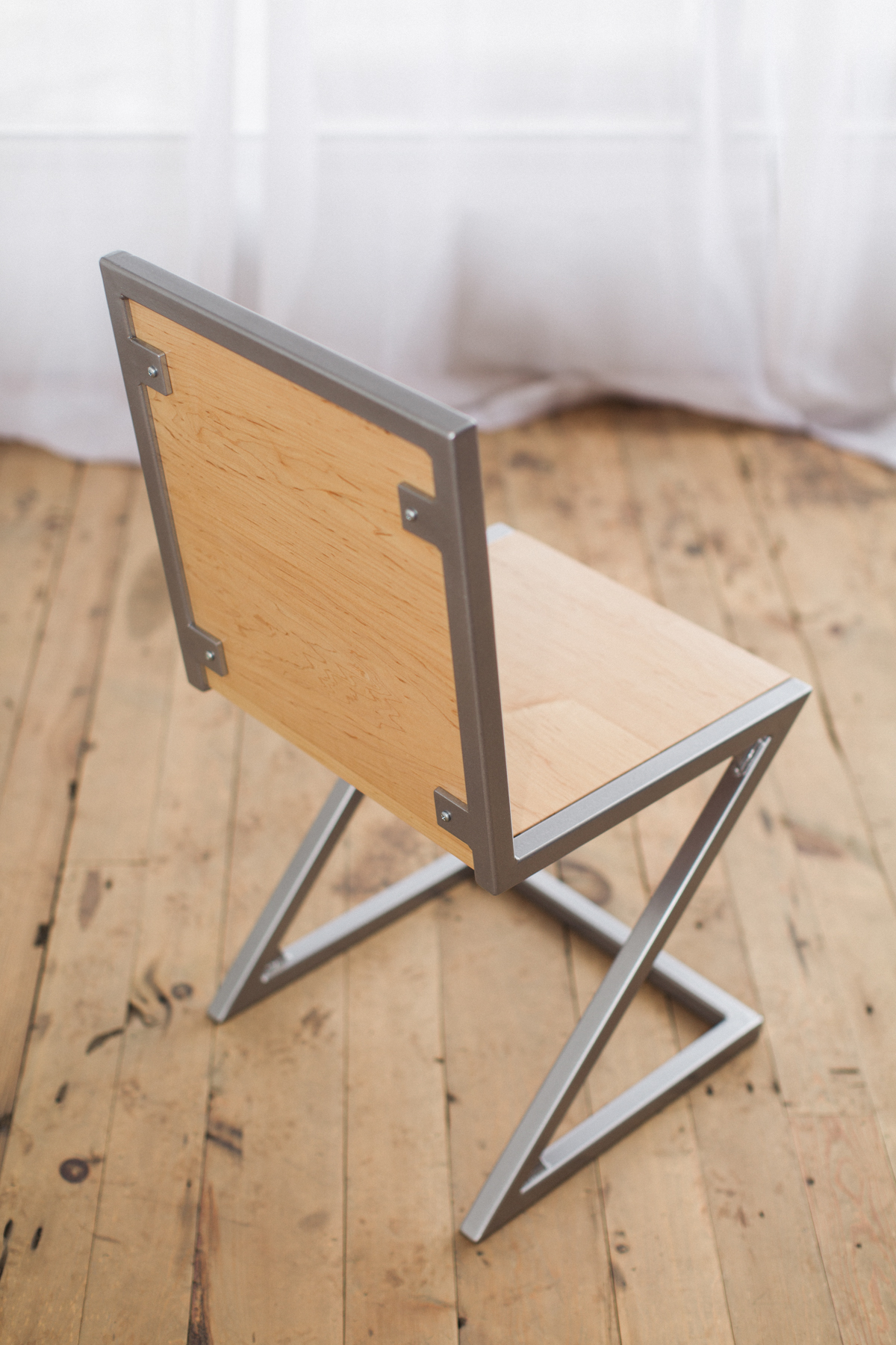 Maple And Powder Coated Steel Z Chair Factor Fabrication