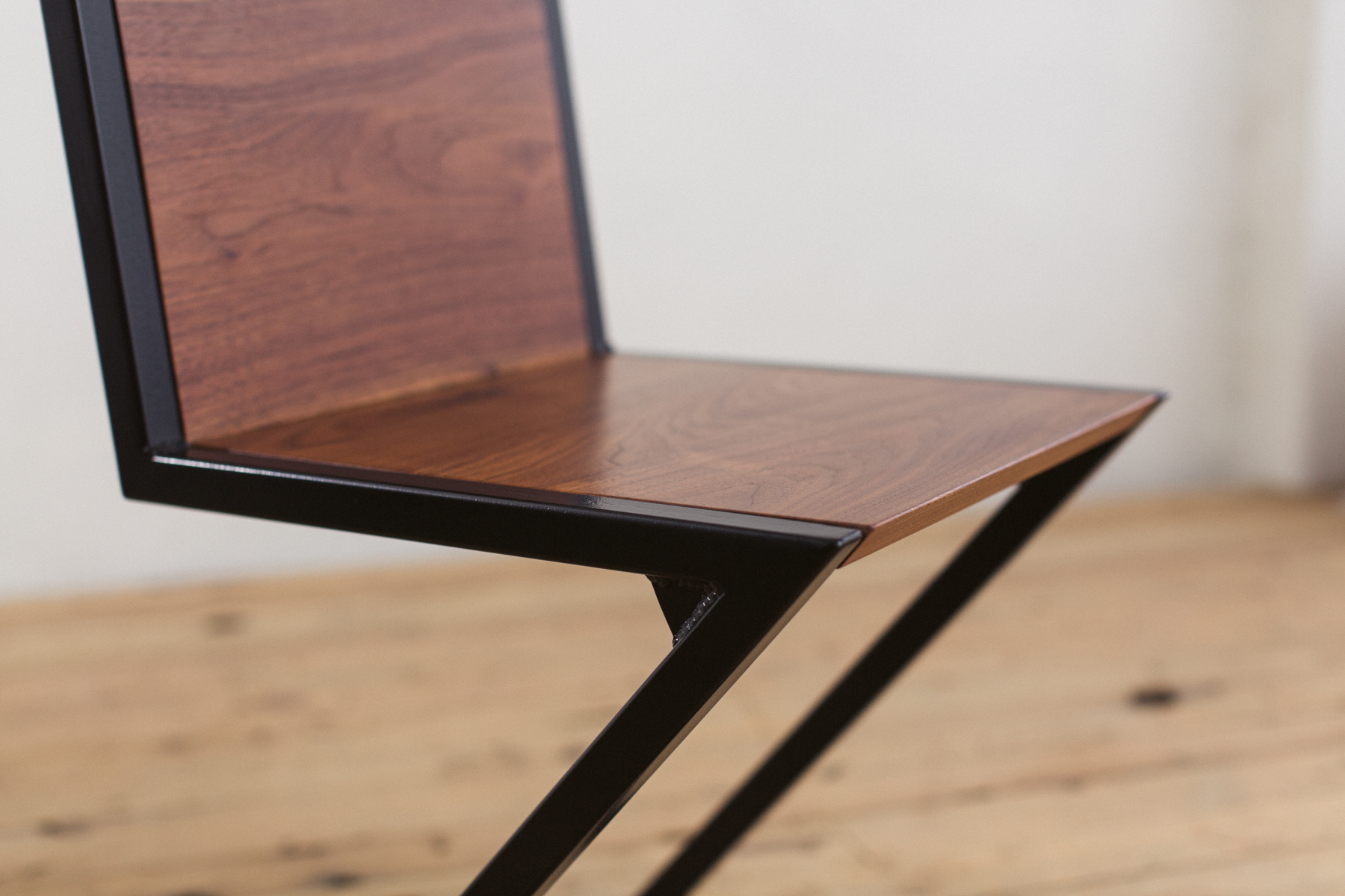 Walnut And Powder Coated Steel Z Chair Factor Fabrication