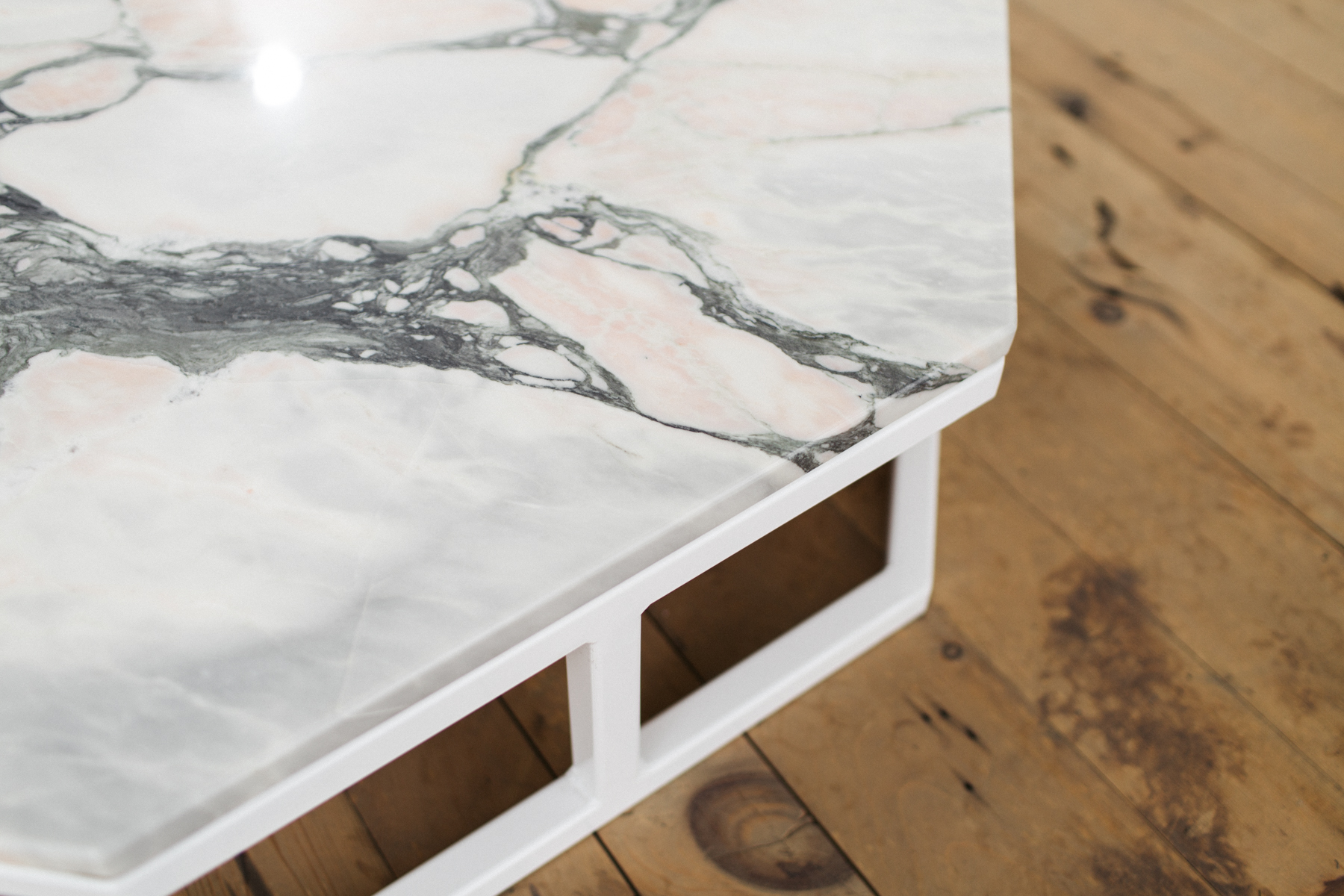 Granite And Steel Octagon Coffee Table