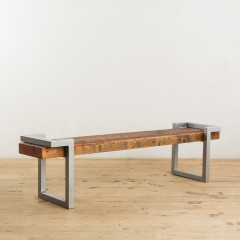 Steel and Salvage Wood Bench