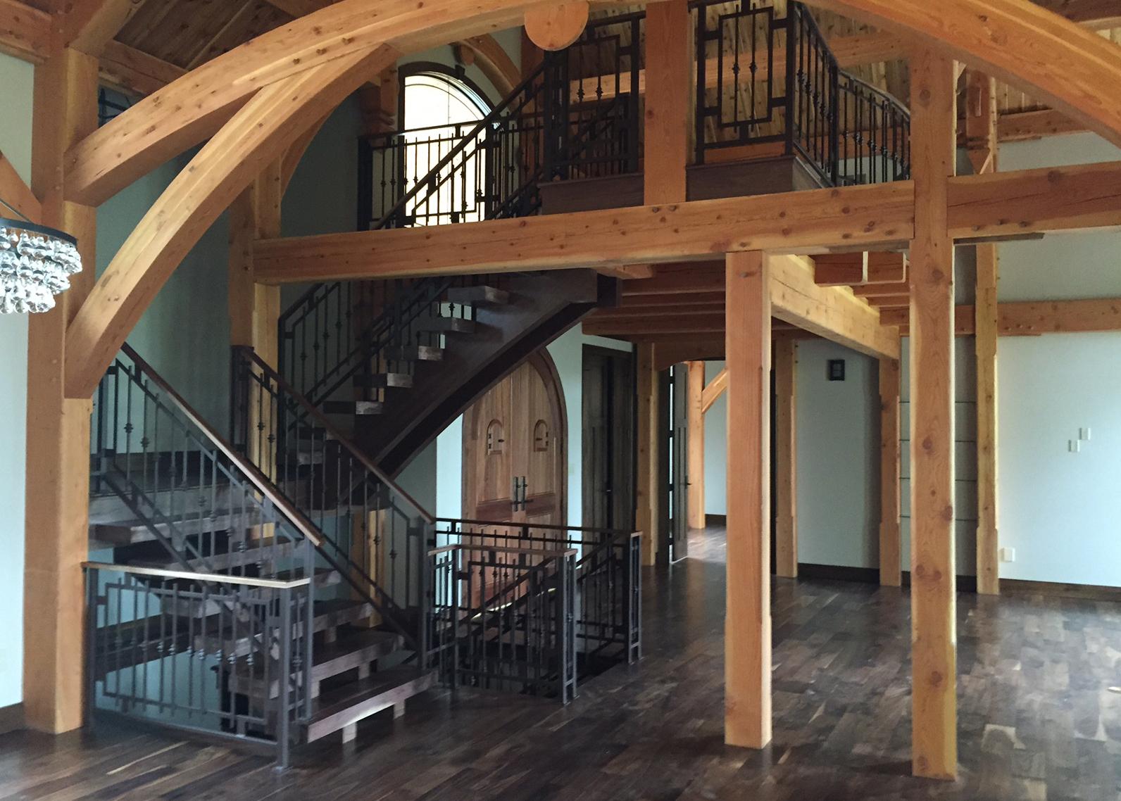 custom-steel-railing-stairway-modern-cabin-iowa-2015
